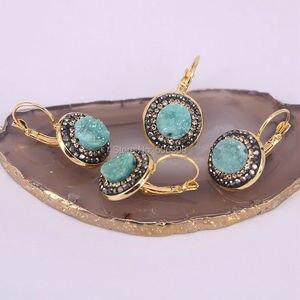 Image 5 - 10 pares de pendientes de piedra Natural para mujer de titanio geoda pendientes modernos de cuarzo redondo