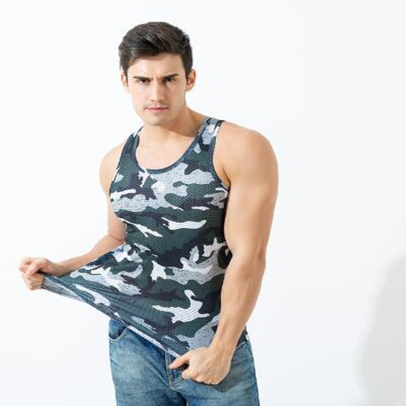 2019 new men's fitness vest men's round collar quick-dry narrow shoulder camouflage vest