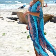 Long Printed Chiffon Bikini Cover Up Women Bikini Cover Up Swimwear Women Robe De Plage Cardigan Beach Blanket Swimsuit Ups