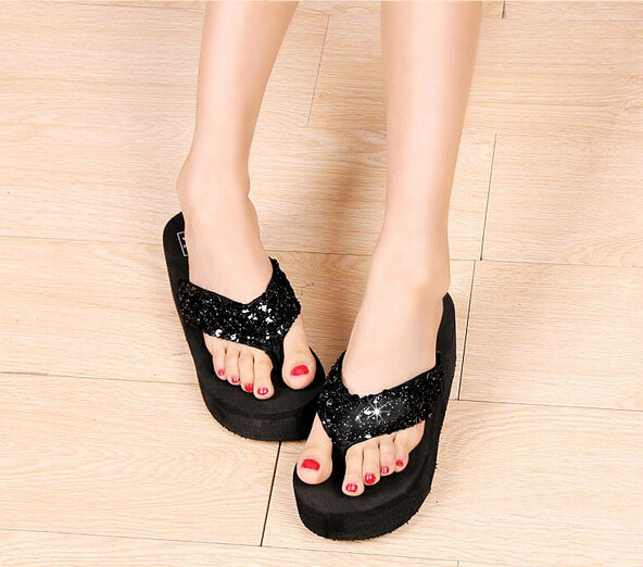 Beach-Sandals Slippers Wedges Flip-Flops Shoes Woman Rhinestone Crystal Black Summer