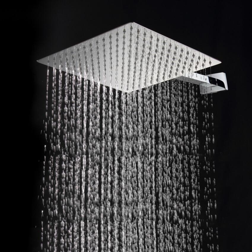 Square Rain Shower Head 12 Inch Square Ultra-thin Stainless Steel Rainfall Bathroom Top Shower Head