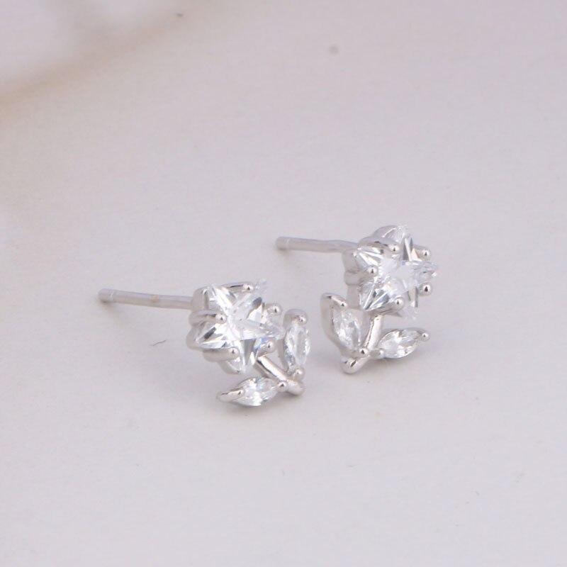 CHUKUI Genuine Silver 925 Jewelry Women Real Pure 925 Sterling Silver Star Flower Earrings Crystal Zircon Stud Earing 925 (8)