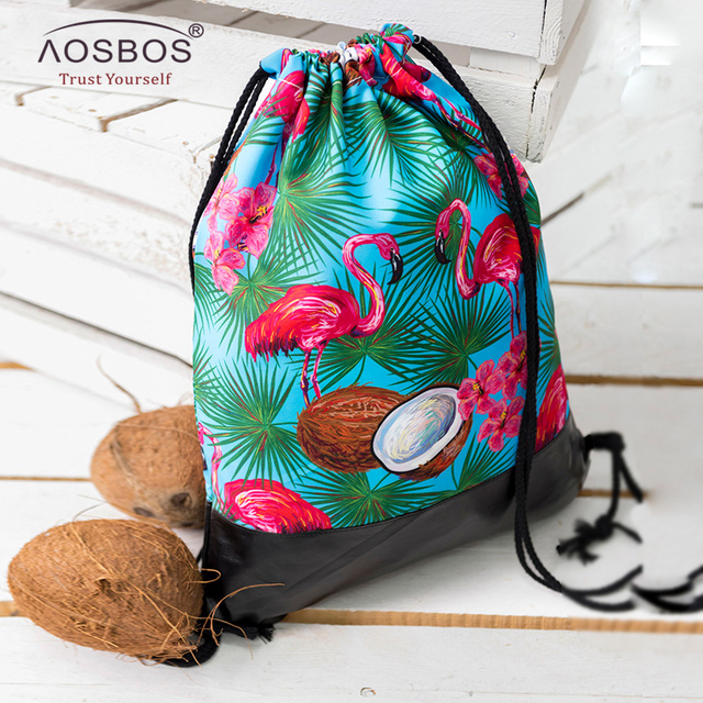 e7ad38e58d Aosbos 3D Printed Flamingos Drawstring Backpack Sports Bag for Women  Fitness Gym Bag for Shoes Leather Bottom Drawstring Bags