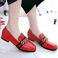 Aiweiyi 2017 mujeres bombas zapato de las señoras gruesas del talón bajo cuadrado dedo del pie Elegantes Zapatos de Boda de Cuero de Patente de LA PU de La Borla de La Mujer Tamaño 34-43