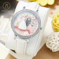 Miss Keke Kids 3D Clay Cute Wedding Dress Watches Girls Quartz Leather White Diamond Cartoon Wristwatch Clock 1047 montre enfant