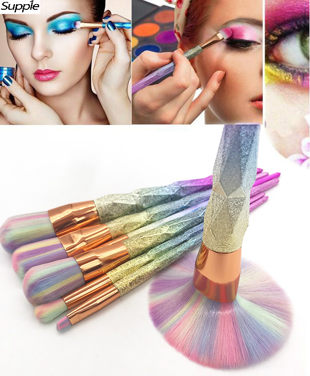 Unicorn Diamond Colorful Makeup Brush Set Mermaid Fishtail Shaped Foundation Powder Cosmetics Brushes Rainbow Eyebrow Brush Kit