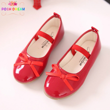 POSH DREAM Spring Girls Leather Flat Shoes Fashion Basic Simple Baby Princess Butterfly Knot Teenager Kids Girls Flat Shoes