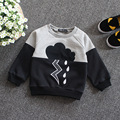 2017 new fashion baby sweatshirt  long sleeve black and white patchwork unisex baby sweatshirts 100% cotton baby fleece 2-5T
