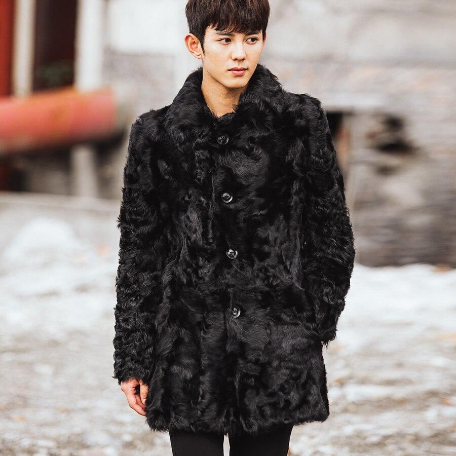 CR095 men's genuine real sheep fur coat long coats winter warm ...
