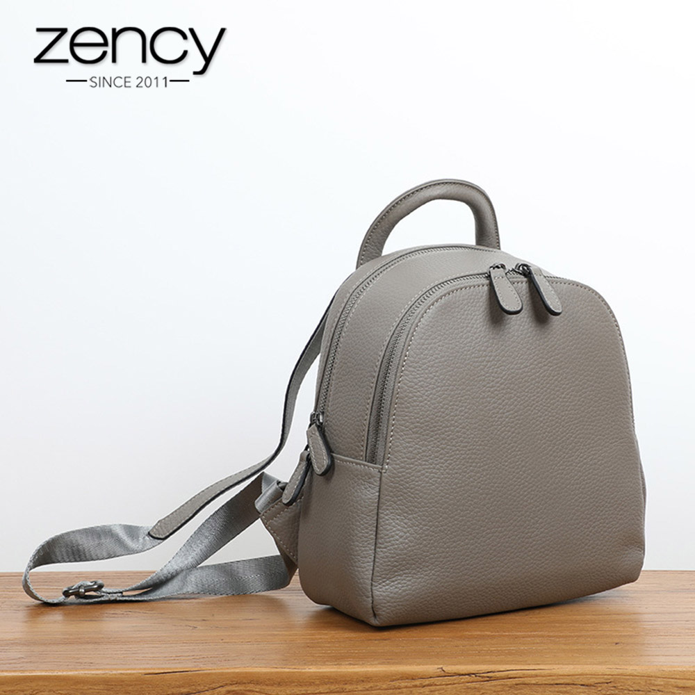 Zency 100% Genuine Leather Women Backpack Double Zippers Fashion Travel Bags Black Simple Female Knapsack Girls SchoolbagZency 100% Genuine Leather Women Backpack Double Zippers Fashion Travel Bags Black Simple Female Knapsack Girls Schoolbag
