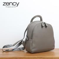 Zency 100% Genuine Leather Women Backpack Double Zippers Fashion Travel Bags Black Simple Female Knapsack Girl's Schoolbag