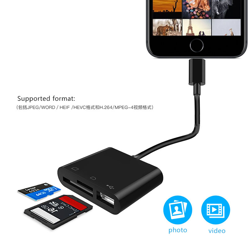 Adapter For iPhone IOS 9.3 to newest version docking station USB SD TF Card reader OTG Phone Adapters & Converters     - title=