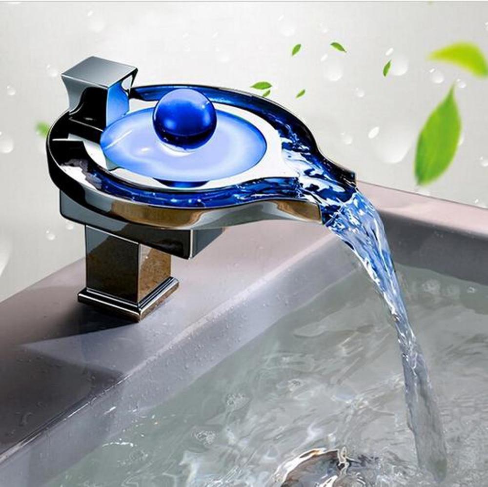 Color Changing LED Waterfall Tap For Bathroom Sink Faucet Torneira Para De Banheiro color changing led waterfall tap for bathroom sink faucet torneira para de banheiro