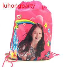 12pcs Non-Woven Fabric Drawstring Bags Kids Favor Soy Luna Gifts Bag Cartoon Bags Baby Shower Happy Birthday Party Decoration цена в Москве и Питере