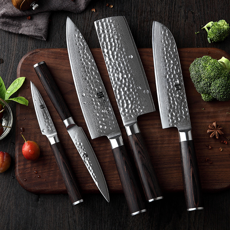 XINZUO 5 PCS Kitchen Knives Set Japanese VG10 Damascus Stainless Steel Razor Sharp Santoku Chef Paring Knife Pakkawood Handle
