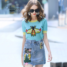 New Summer Shiny Butterfly and Bee Embroidery Appliques Tee Cute Women Pullover Knit Lurex Runway Design Top Bling B-130