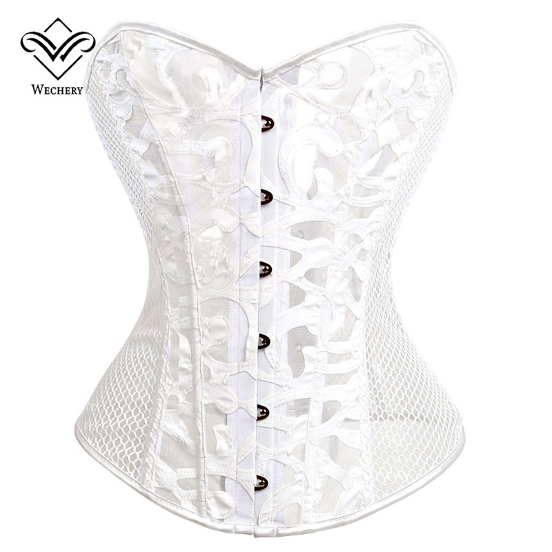 Wechery New Mesh Hollow Out Sexy Steampunk Corset & Bustiers Lace Up Waist Slimming Corcelet Black Body Shaper Cincher Tops