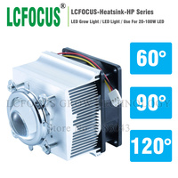 LCFOCUS LED Heatsink Cooling Radiator + 60 90 120 Degrees Lenes + Reflector Bracket + Fans For High Power 20W 30W 50W 100W LED