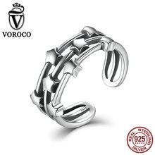 VOROCO Authentic 925 Sterling Silver Rings 8mm Stackable Stars Smooth Adjustable Open Finger Cuff Ring for Women Fine Jewelry