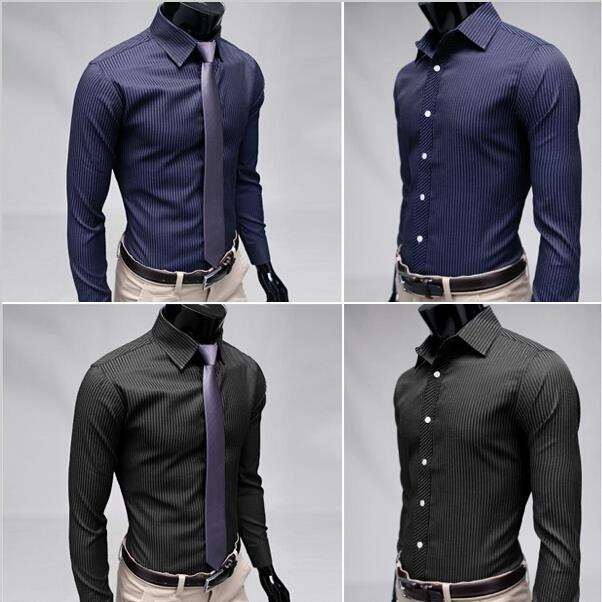 Hot Sale 2015 New Mens Casual Navy Blue Shirts Slim Fit Stylish ...