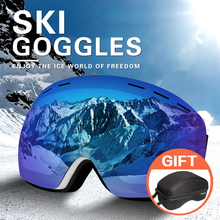 цена на DMAR ski goggles spherical double layers UV400 anti-fog With box Protection keep warm big lens glasses snow goggles skating