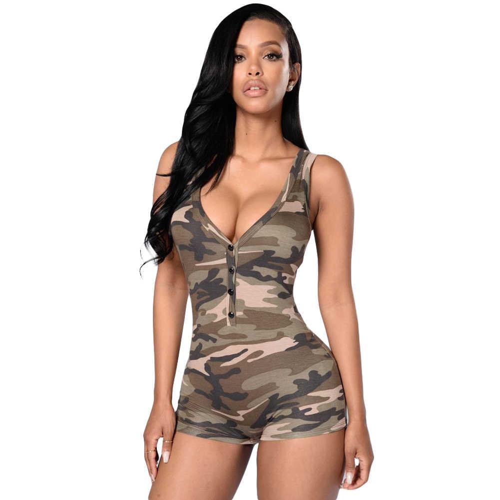 Новый сексуальный женский Камуфляжный костюм пляжного типа без рукавов Глубокий v-образный вырез боди шорты Повседневный комбинезон женский комбинезон без рукавов комбинезоны армейский зеленый