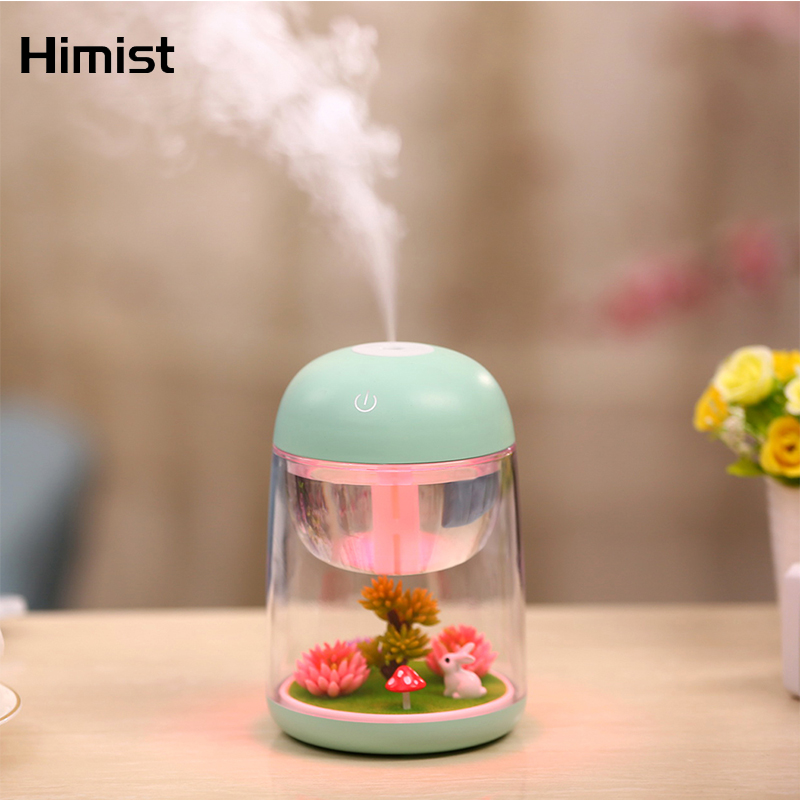 Mini Portable Mist Humidifier Transparent Micro-landscape Air Humidifier Spray Air Purifier Diffuser With LED Lights For Home