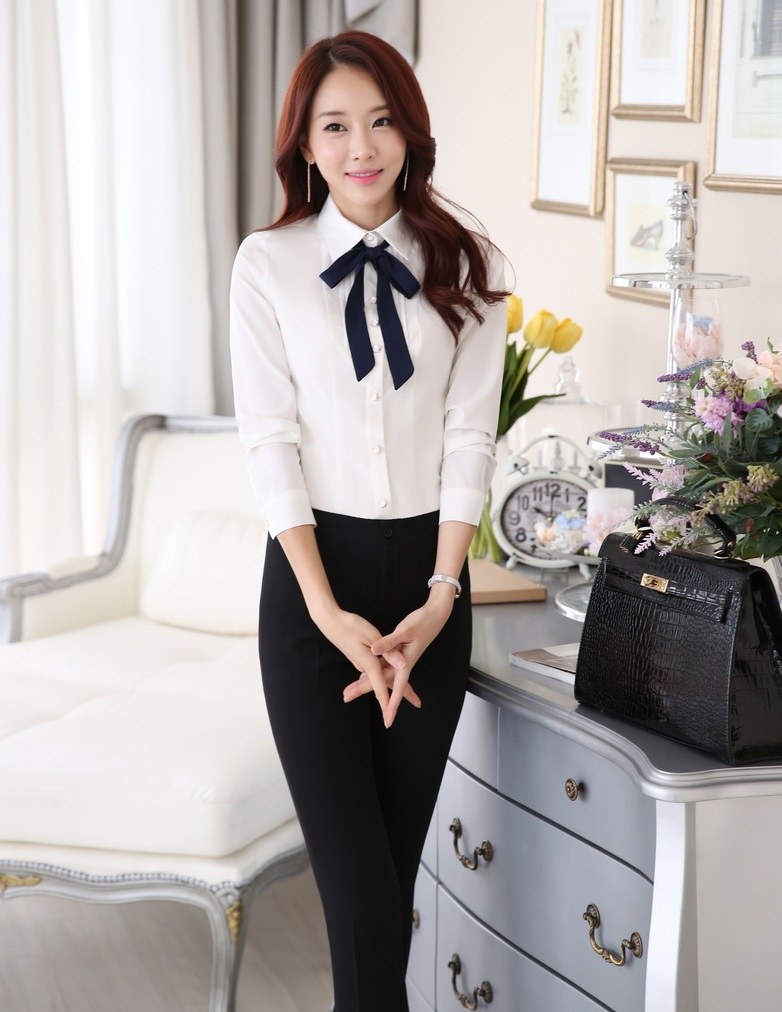 Formal Uniform Design 2015 Spring Autumn Professional Business Women Work Suits Trousers Set With Blouses And Pants Plus Size