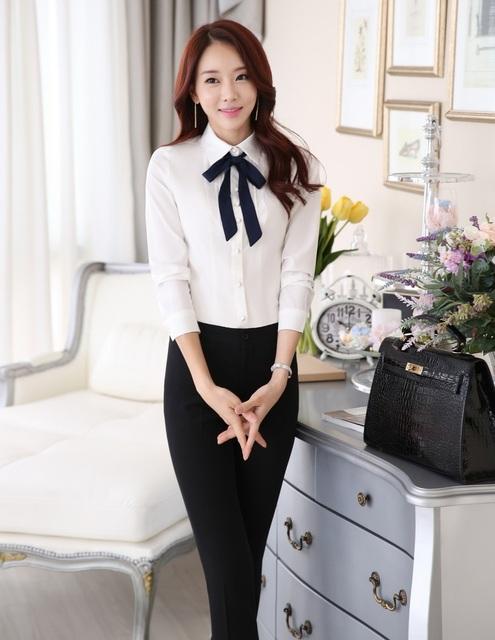 Formal de Design uniforme 2015 primavera outono Business Professional Women trabalho ternos calças estabelecidos com blusas e calças Plus Size