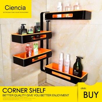 Free Shipping Aluminum Rotating Bathroom Shelves Multi Function 2-4 Tier Shower Corner Shelf Wall mount self adhesive Organizer