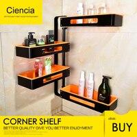 Free Shipping Aluminum Rotating Bathroom Shelves Multi Function 2 4 Tier Shower Corner Shelf Wall mount self adhesive Organizer