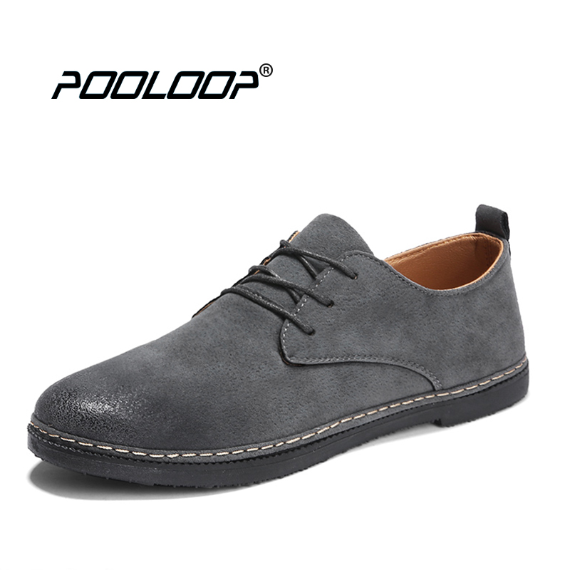 POOLOOP Pure Handmade Fashion Mens Causal Shoes Lace Up Spring Suede Leather Flats Breathable Men Solid Rubber Shoes Male Oxford top fashion shoes men mens canvas shoe chaussure homme leather business breathable spring autumn solid medium b m flat lace up