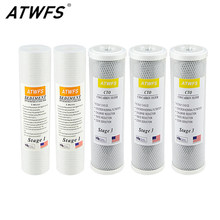Atwfs Cartridge Filter Air Reverse Osmosis Filter 2 Pcs 5 Micron Filter PPF + 3 Pcs CTO Carbon Cartridge(China)