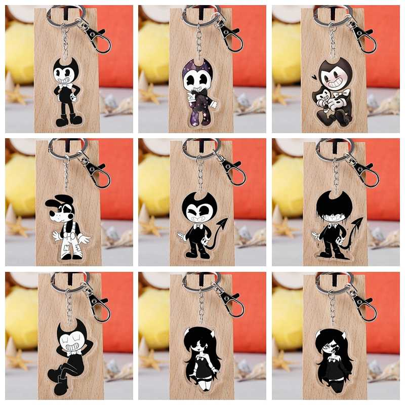 10 Style Bandy & Ink Maker Doll Keychain Acrylic Twoside Print Black Cartoon Figures Keyrings Portachiavi Children Toys Gift