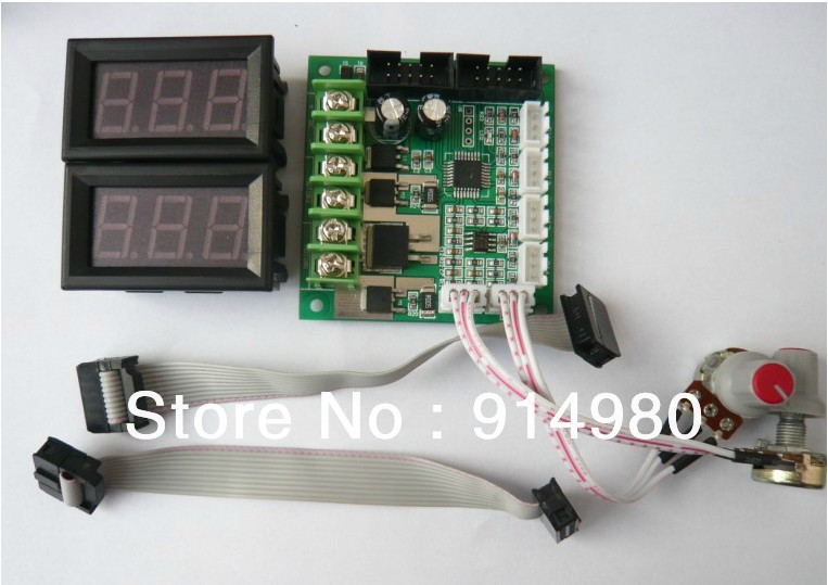 ФОТО Dual Brushed DC motor speed controller with proportional display pwm governor 12 24V 2 way 10A
