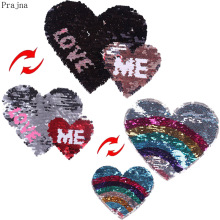Prajna Love Heart Patch Reversible Sequin Rainbow Sew On Cheap Embroidered Patches For Clothes Stripes DIY Applique Badge