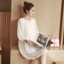 2 colors !! pregnant clothing maternity dresses casual knitted Lace clothes for pregnant women hollow out lace dress fashion