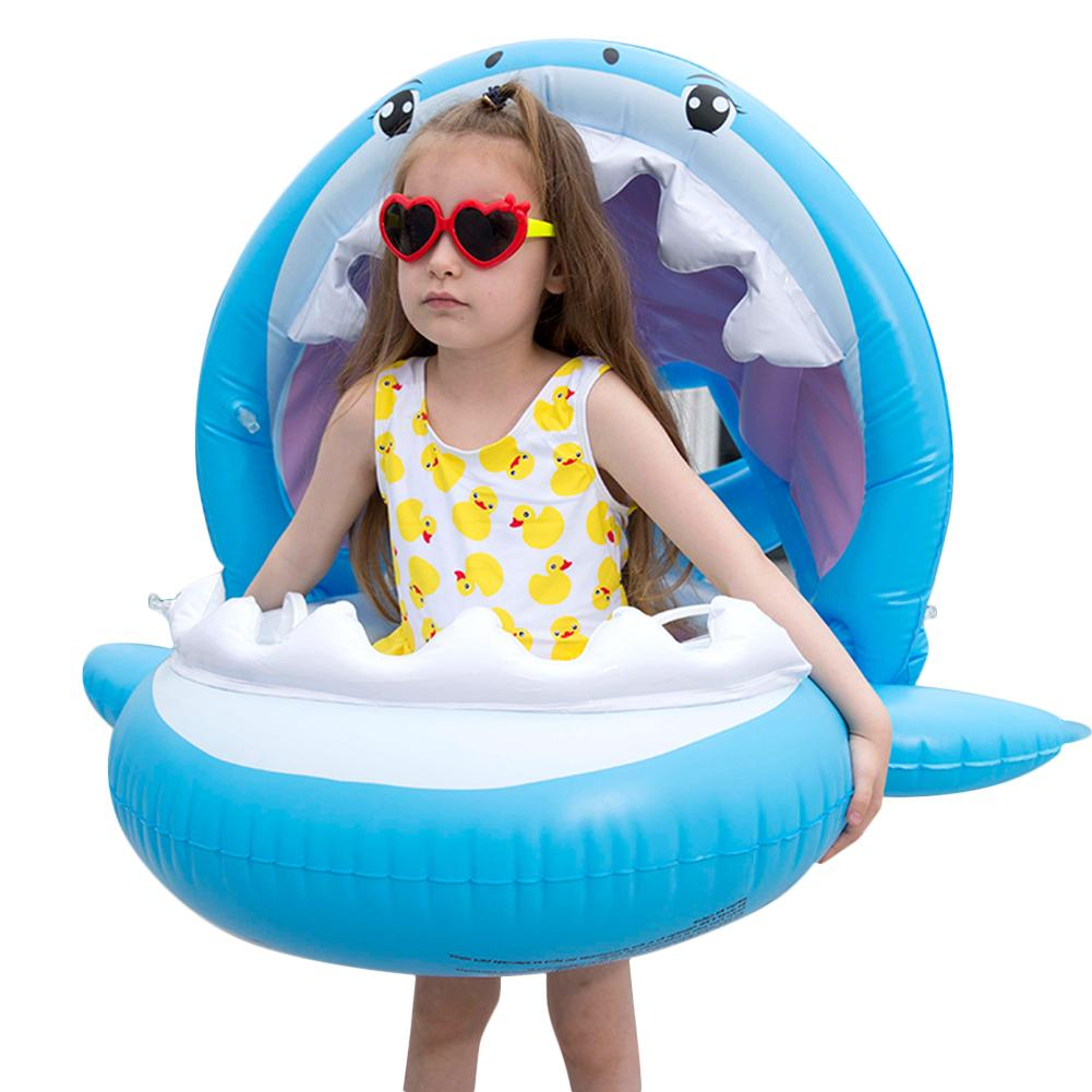 Shark Shape Baby Swimming Ring Cartoon Pool Float With Sunshade Is A Great Water Toy For Children