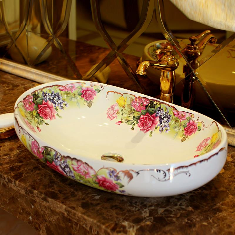 Big Flower pattern porcelain bathroom vanity bathroom sink bowl countertop Oval Ceramic wash basin bathroom sink