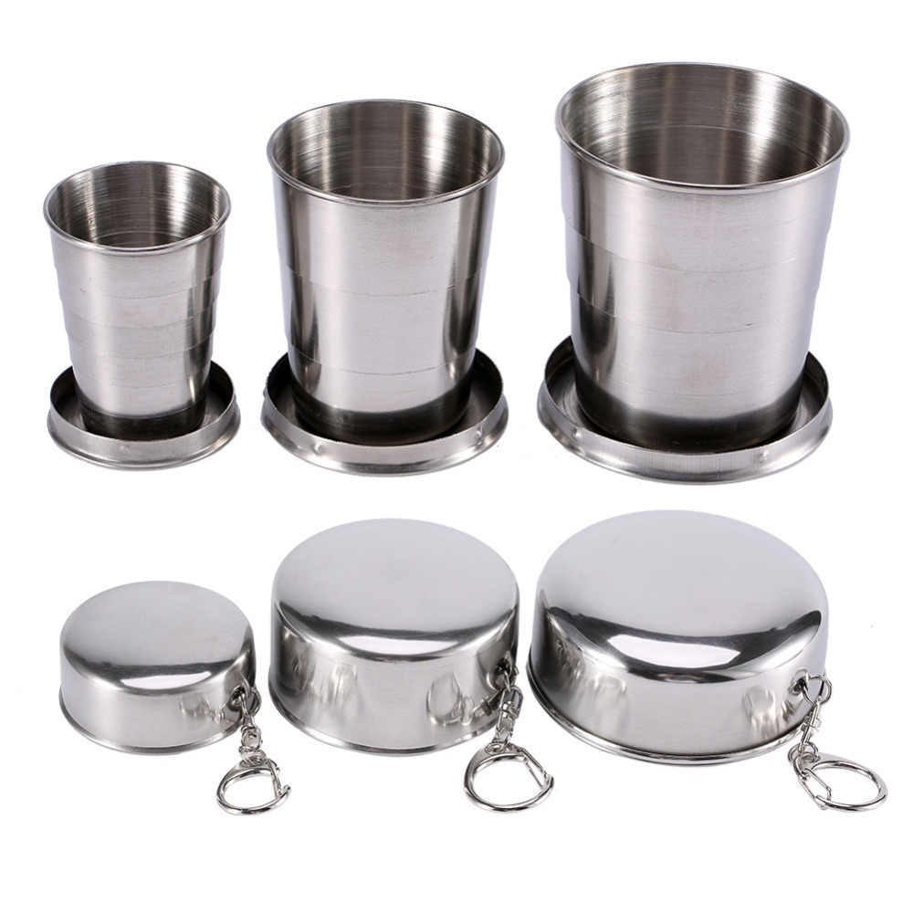75/140/240ML Stainless Steel Collapsible Travel Folding Cup Camp Keychain Retractable Telescopic Camping Cup