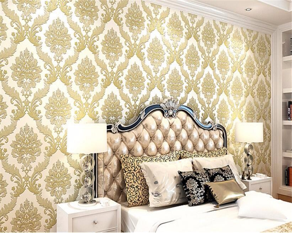 все цены на  Beibehang European style purple yellow 3D wallpaper 3D living room bedroom TV background wallpaper for walls 3 d papel de parede  онлайн