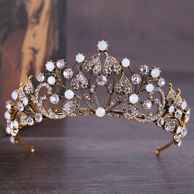 DIEZI Baroque Vintage Crystal Leaves Retro Gold Color Crown Tiaras Jewelry Women Wedding Tiaras Bride Hair Accessories