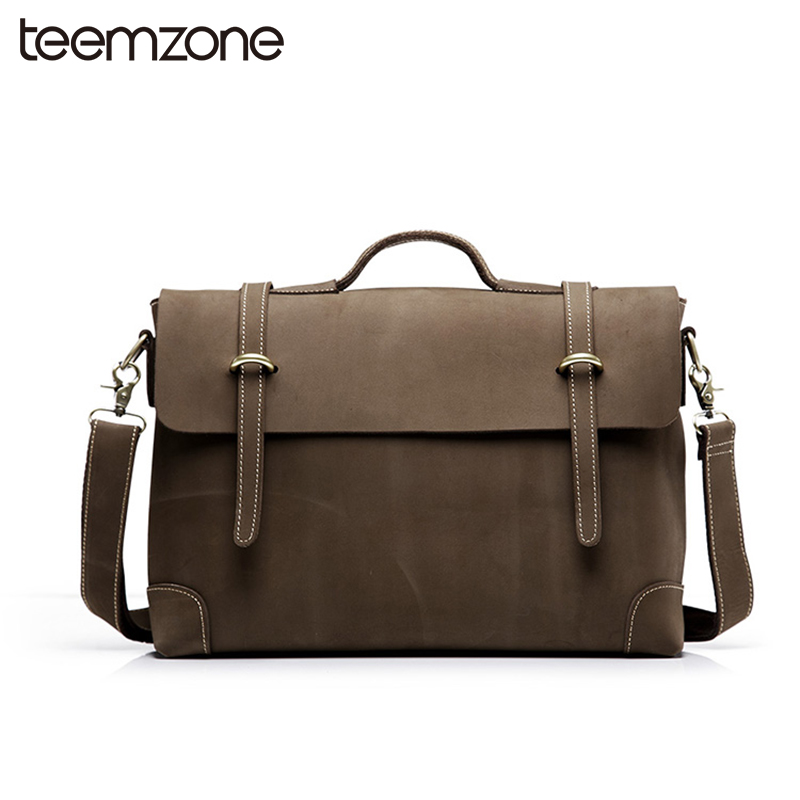 European and American Style Mens Crazy Horse Leather Vintage Zpper Laptop Messenger Shoulder Attache Portfolio Fashion Bag T0780 цена и фото