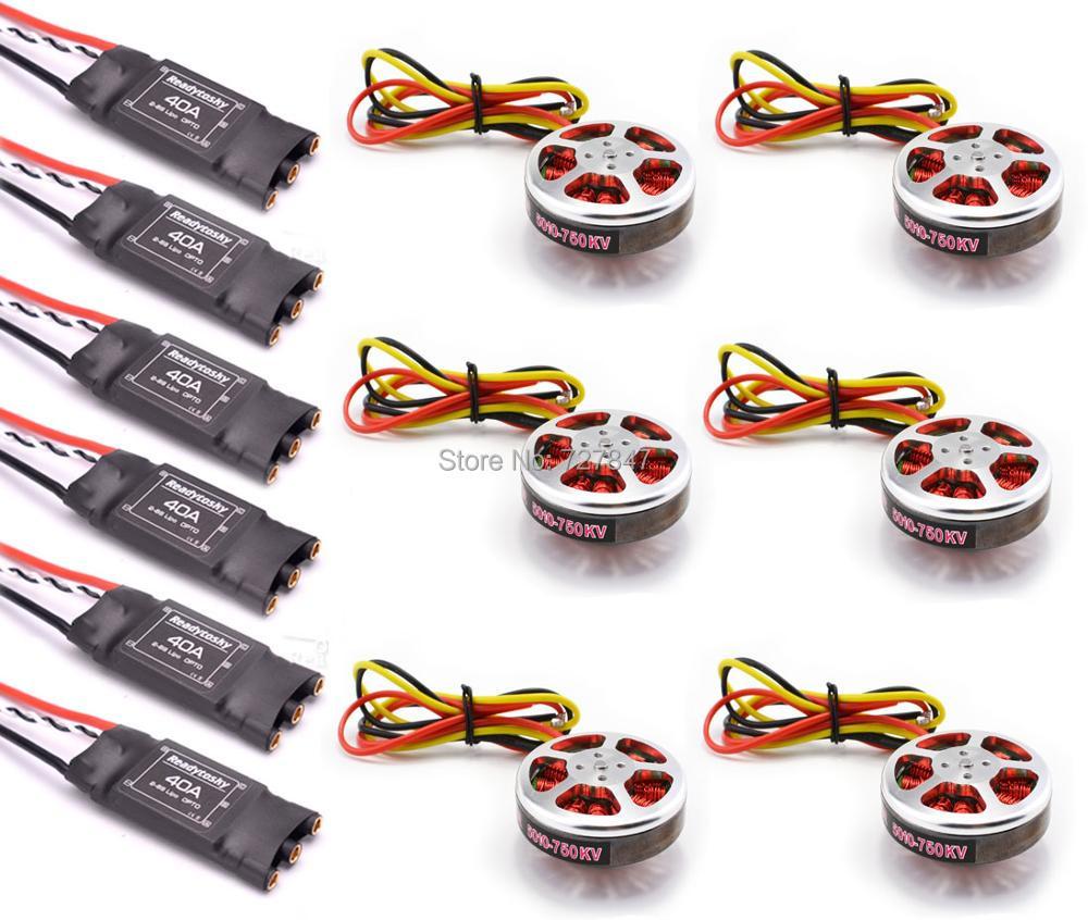6Pcs 5010 360KV / 750kv High Torque Brushless Motors + 6Pcs Readytosky 40A ESC OPTO 2-6S for ZD850 ZD550 S550 F550 Quadcopter mystery bec esc for brushless motors 2601 60a fm60a 6 12v