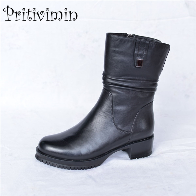 Fashion winter women botas mujer shoes Ladies cow leather bottes femmes girl thick heel  ...