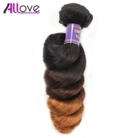 Allove Malaysian Ombre Hair Bundles T1B/4/30 Ombre Loose Wave Bundles Double Weft 3Tone Remy Human Hair Extension Can buy 3/4Pcs