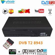 Vmade H.265 T2 DVB 8943 HD Decoder Digital Terrestre receptor de TV Scart TV suporte Dolby AC3 Youtube com USB WI FI set Top Box