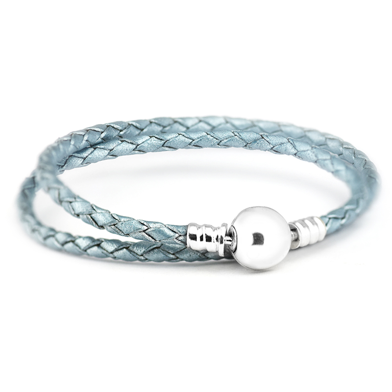 Light Blue Single and Double Leather Bracelet 100% 925 ...