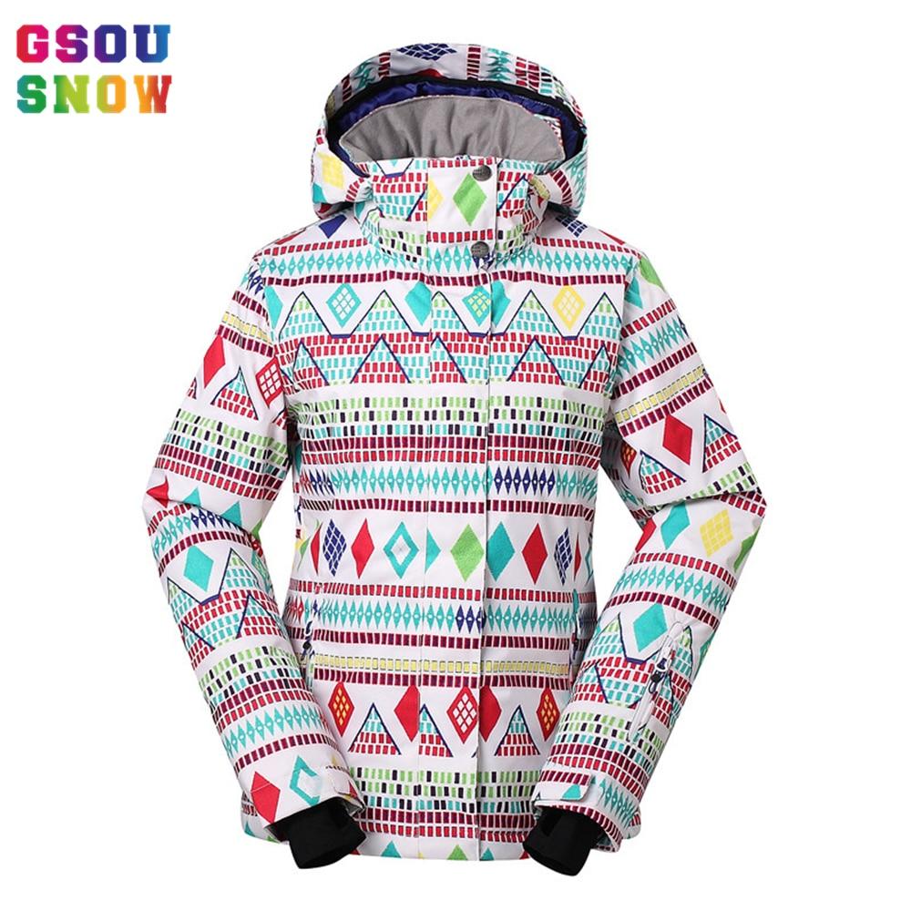 Prix pour Gsou Snow Ski Veste Femmes Professionnel Snowboard Veste Imperméable 10000 Respirant Coloré Printed-30 Degrés Femme Vêtements de Ski