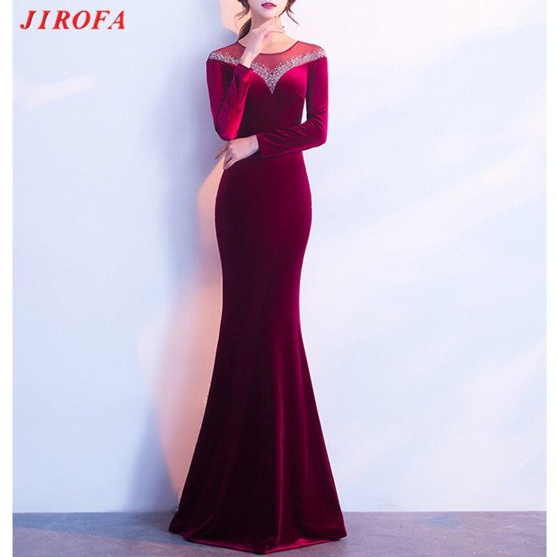 2019 długie aksamitne zimowe sukienka kobiety Vestidos Verano sukienka w dużym rozmiarze elegancki Robe Hiver wieczór syrenka suknia z długim rękawem w Suknie od Odzież damska na  Grupa 1